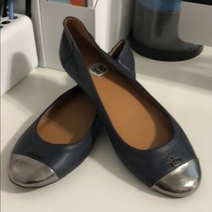 Coach cap-toe leather flat